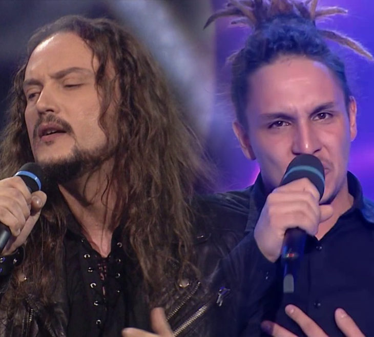 Contestants from Romania's 2018 Eurovision National Selection. Left: Lion's Roar; Right: Tiri. Screencaps from TVR.