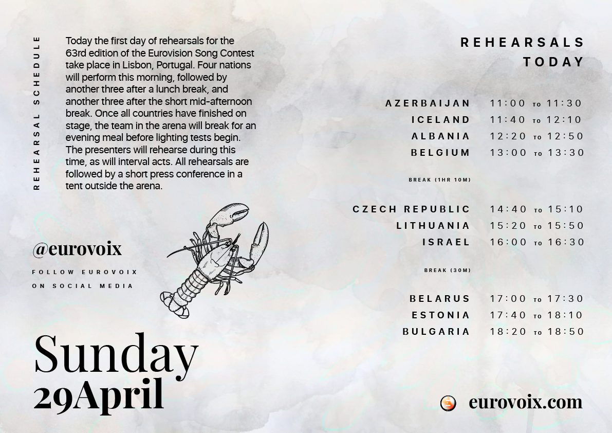 Today's #Eurovision Reharsal Schedule | April 29th