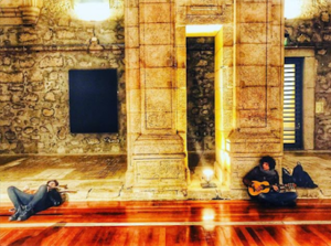 Ermal Meta and Fabrizio Moro film their Eurovision postcard. Image source: escportugal.pt