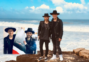 Gromee and Lukas Meijer film their Eurovision postcard. Image source: escportugal.pt